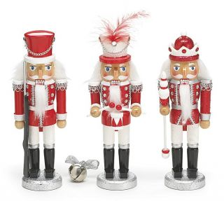 Burton 8 Red White Wooden Christmas Nutcracker Soldier Set of 3