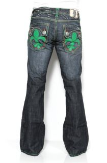 Mens Laguna Beach Jeans Hermosa Beach Green Stitch Boot Cut 32