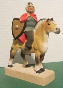 HENNING WOODEN VIKING SOLDIER WITH SHIELD & SWORD ON HORSE HAND CARVED