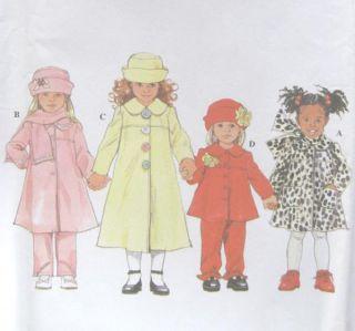 Childs Coat Jacket Pants Hat Scarf Sewing Pattern Yoke Rosettes 4833
