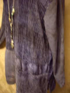 URU Kristine St Rikk Tunic Top DUSTY BLUE/Chenille/Damask L/ XL