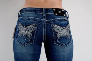 Miss Me Jeans New Crystal Butterfly Light Silver Embroidered