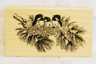 Blue Ridge Impressions Rubber Stamp Christmas Wintertime Birdies Holly