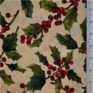 Very Merry Christmas Moda Holly Berries Fabric Almost 3 4 Yard