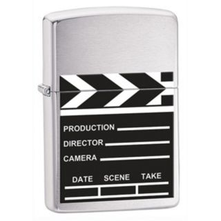 Hollywood Movie Director Clapboard Clap Board Brushed Chrome Zippo