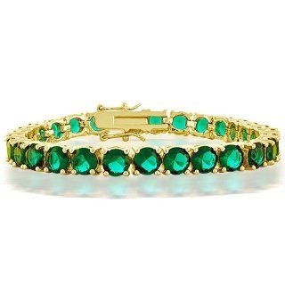 Bling Jewelry Gold Plated CZ Green Emerald Color Tennis
