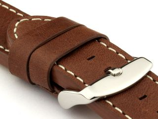 22mm Dark Brown/White   HAVANA Genuine Leather Watch Strap / Band