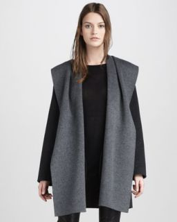 Vince Boat Neck Sweater, Motorcross Leather Jeans & Draped Hooded Coat