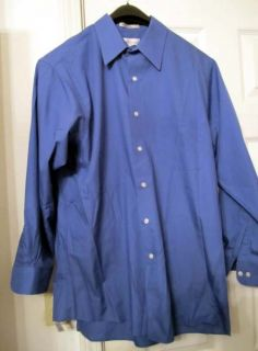 Van Heusen Mens Blue button up dress long sleeve Shirt Size L