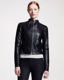 Haute Hippie Leather Motorcycle Jacket, Silk Blouse & Sequined