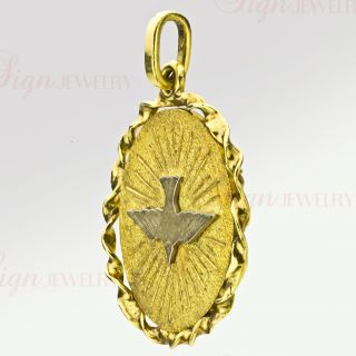 Cartier Vintage Two Tone 18K Gold Holy Ghost Dove Medallion Pendant