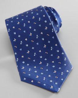 N1XEF Salvatore Ferragamo Dragonfly/Butterfly Silk Tie, Navy