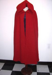 Little Red Riding Hood Rustic Wool Cape Cloak Closure Options Washable