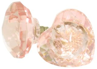 Pink Heart Glass Knob Vintage Cabinet Drawer Pull Furniture Handle 213