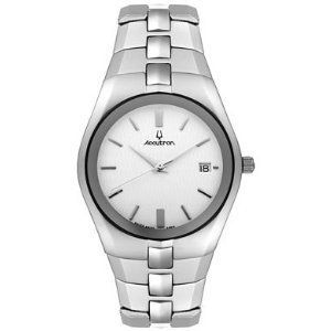 accutron mens stainless steel white dial watch 26b14 nwt