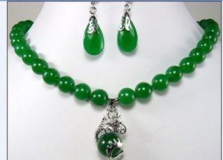 Fashion Jewelry Beautiful 10mm Green Jade Earring Dragon Pendant