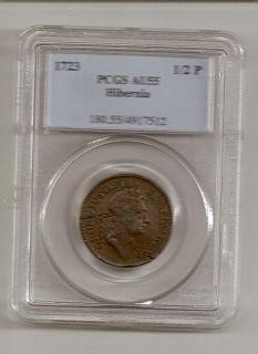 1723 Woods Hibernia 1 2 Penny PCGS AU 55