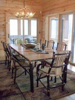 Dining Set Table Chairs Bench Cabin Lodge Wood Furniture New