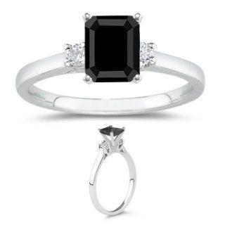 90 Cts Black & White Diamond Classic Three Stone Ring in 18K White