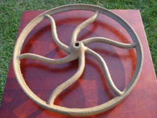 Antique Curved Spoke Cast Iron Steampunk Art Flywheel