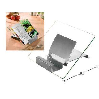 Stainless Steel Glass Cookbook Recipe Book Stand Holder