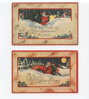 Lot 2 Early Christmas Postcard Greetings   Santa Claus Red Suit   Old