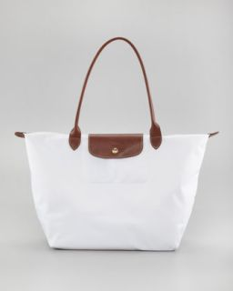V1E9C Longchamp Le Pliage Large Shoulder Tote Bag, White