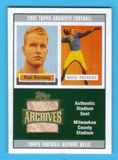 2001 Topps Archives Paul Hornung Authentic Milwaukee County Stadium