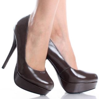 Brown Platform Pumps Stiletto High Heels Patent Lady Womens Dress