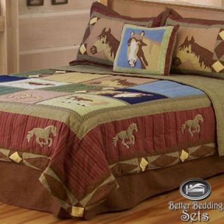 Girl Children Kid Horse Pony Western Quilt Teen Bedding Set Twin Full