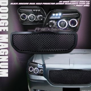BLACK HALO LED PROJECTOR HEAD LIGHTS FRONT MESH GRILL GRILLE 05 07