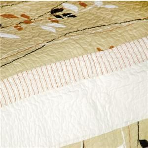 PC Dancing Branch Tan Leaves Rust 100% Cotton Vermicelli Queen Quilt