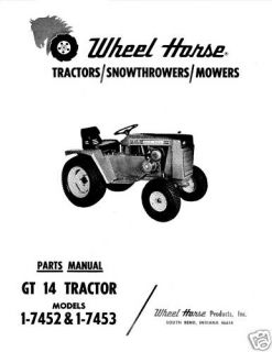 Wheel Horse GT 14 Parts Manual Model No 1 7452 1 7453