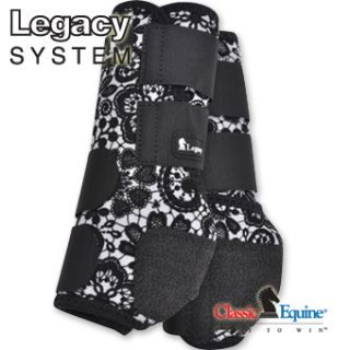 Legacy Sport Boots SMB Lace Black White Front LARGE L Horse Tack