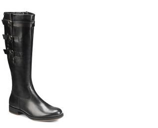 Ecco Womens Saunter GTX Black Leather Tall 3 Buckle Boots 234563 11001