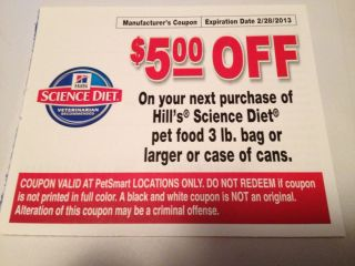 Coupon for Hills Science Diet Dog Cat Food $5 Off