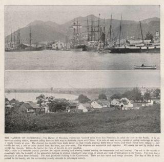 Hawaii Honolulu Harbor 2 Views Antique 1890s Print