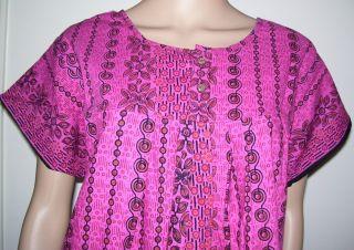 Hot Pink Black Cotton Batik Nighty Moo Moo Dress Plus Size 12 20