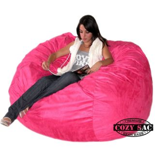 Cozy Sac Chair Hot Pink Suede Bean Bag Love Seat New