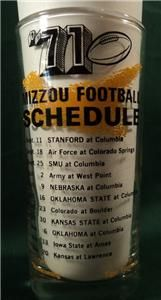 University of Missouri Football Glass 1971 Tumbler Mizzou Tigers