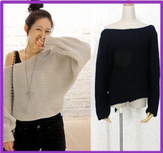 Sexy Fashion Boat Neck Off Shoulder Bat Wing Knit Knitting Knitwear
