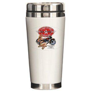 Ceramic Travel Drink Mug Last Stop Full Service Gasoline