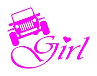 Girls Pink Vinyl Decal Mud 4WD 4x4 Sticker Fits Jeep CJ YJ TJ Wrangler