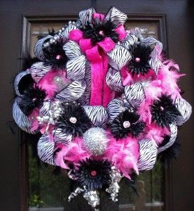 Zebra Christmas Wreath Door Decor Hot Pink & Black Princess Glamorous