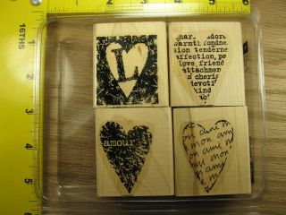 Stampin Up Mon Ami Set of 4 Hearts Romance Wedding Rubber Stamp 2766