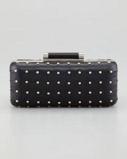 V1DW6 Diane von Furstenberg Tonda Studded Leather Clutch Bag, Black
