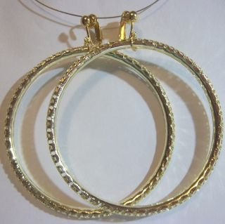 Clip on 3 Gold Tone Large Hoop Fashion Non Pierced Earrings H329 USA