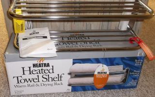 WARMRAILS Towel Bar Shelf Drying Rack Warmer Heated Chrome Wall Mount