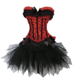 Sexy Red Corset Moulin Rouge Costume w Tutu Skirt