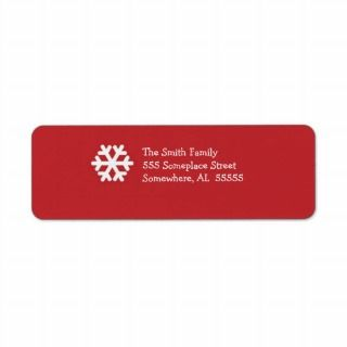 Christmas Return Address Label Red&White Snowflake